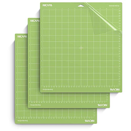 NICAPA Schneidematte für *Cricut Explore One/Air/Air 2 / Maker [Standardgriff, 12x12 Zoll, 3er-Pack] Haft- und klebrige, rutschfeste, Flexible, gerasterte Vinyl-Grünschnittmatten Ersatzmatten