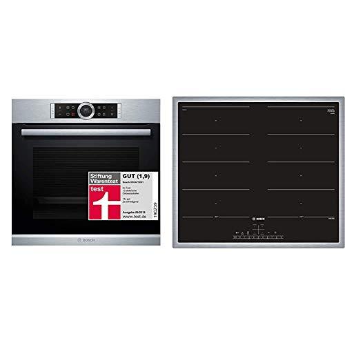 Bosch HBG675BS1 Serie 8 Einbau-Backofen/A+ / 71 L/Edelstahl/Klapptür/TFT-Display / 13 Beheizungsarten & PXX645FC1E Serie 6 Induktionskochfeld (autark) / 60 cm/Schwarz/Umlaufender Rahmen