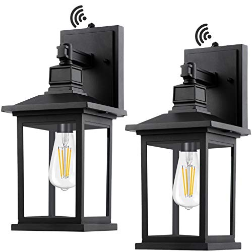 PARTPHONER Outdoor Light Fixtures Wall Mount, Set of 2 Porch Lights with Dusk to Dawn Sensor, Waterproof Outside Wall Light, Anti-Rust Exterior Wall Sconce Lantern for House, Garage, Doorway