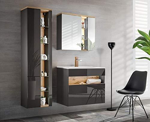 Jadella badmeubelset 'Rio II grijs' badkamerset 4 TLG wastafel spiegelkast 80 cm eiken hoogglans grijs met LED-verlichting