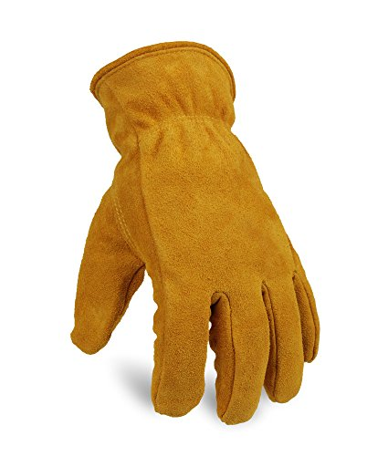 OZERO Work Gloves Winter Insulated Snow Cold Proof Leather Glove Thick Thermal Imitation Lambswool – Extra Grip Flexible Warm for Working in Cold Weather for Men and Women (Gold,Large)