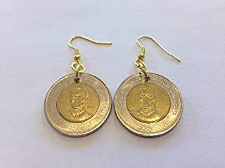 Dominican Republic 10 Pesos Two-Toned, Bi-Metal Coin Earrings