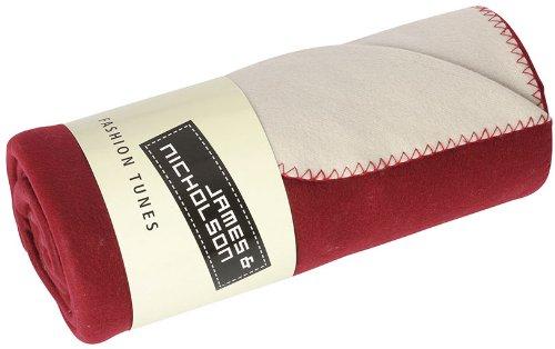 2Store24 Bonded Fleece Blanket in Bordeaux/Cream Größe: one Size