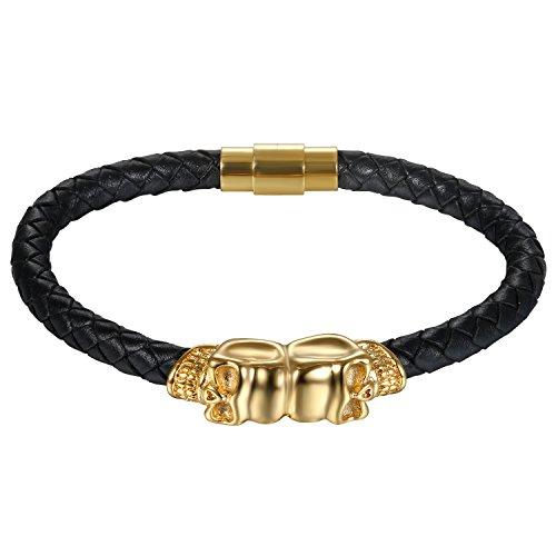 JewelryWe Schmuck Herren Armband, Gotik Punk Doppelt Totenkopf Schädel Geflochten Lederarmband Armreif, Leder Edelstahl, Magnetverschluss, Gold Schwarz