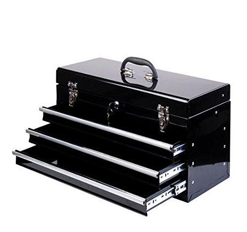 HOMCOM Werkzeugkasten Werkzeugkoffer Werkzeugkiste Metall 540x290x220mm schwarz