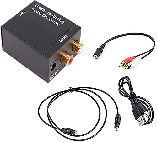 Convertidor DAC, adaptador digital a analógico óptico SPDIF Toslink coaxial a R/L con salida jack de 3,5 mm con cable de fibra óptica para TV, PS4/Blue Ray Dvd/TV Box