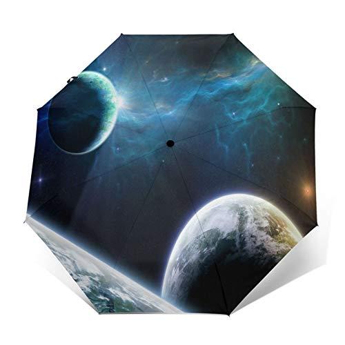 SUHETI Regenschirm Taschenschirm,3D Mysterious Universe Space,Blaues Licht,Erde,Saturn,Auf Zu Automatik,windsicher,stabil