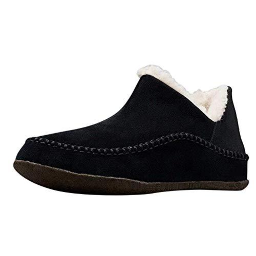 serliy😛Damen Vintage Baumwollstiefel Slip-on Schuhe Plus Samt Verdicken Winter Warm Damen Baumwollstiefel rutschfeste Flache Stiefel Naht Warmer Stiefel Outdoor Trekkingschuhe Wanderhalbschuhe