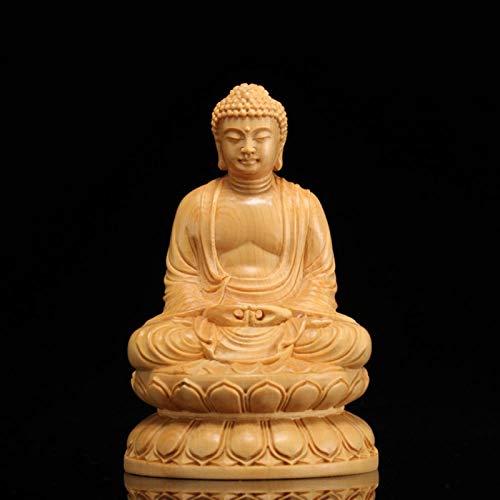 YGDH Madera Figuras De Buda Estatua De Buda Shakyamuni Craft Decoraciones De Jardín Estatuas De Talla De Madera For La Decoración del Hogar (Size : 13cm)