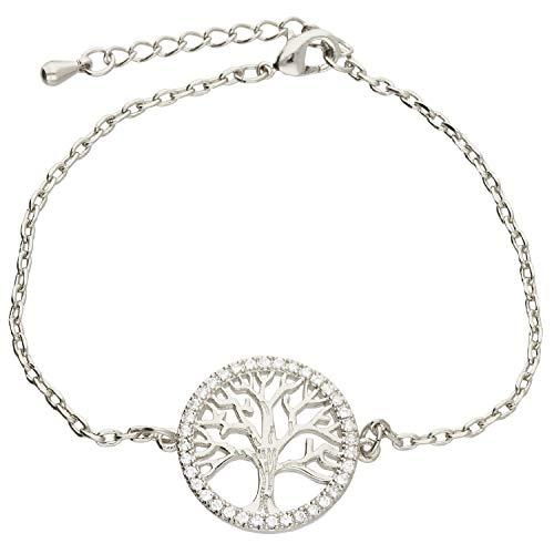 löb Mujer Brazalete Pulsera de cadena Árbol de Vida Anillo circular con árbol de la Vida y circonitas brillantes Acero Inoxidable Chapado en oro plata lwga12