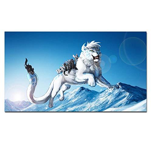 YB Print artistieke dieren witte leeuw muis olieverfschilderij op doek groot formaat sprongen spelen modern muurschilderij voor woonkamer cuadros, 40 cm x 80 cm geen lijst
