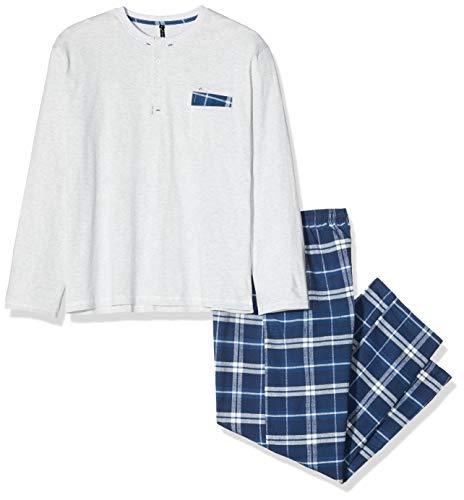 Alan Brown Herren AH.Nord.PYK Zweiteiliger Schlafanzug, Bleu (Écru Ch/Marine Écru Ch/Marine), Medium