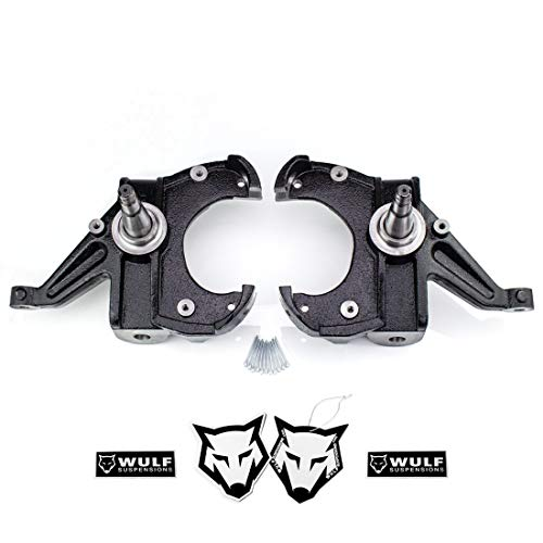 WULF 2.5' Front Drop Spindle Lowering Kit For 1973-1987 CHEVY C10 GMC C15 2WD with the 1' Thick Brake Rotor