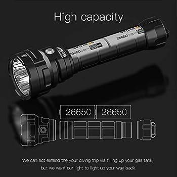 Wurkkos DL70 Lampe de plongée, 13000 lumens Lampe de poche, 4 * CREE XHP50.2 (3V) lampe plongee sous-marine avec 2 batteries 26650 et chargeur, étanche IPX8