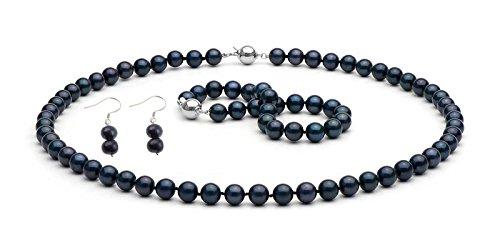 TreasureBay Parure di Perle Nere di Grado A Collana Bracciale Orecchini