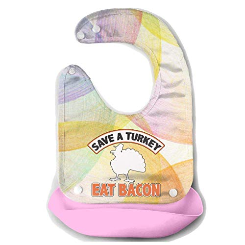 Pavo comer Bacon cerdo divertido día de Acción de Gracias impermeable bebé alimentación baberos de silicona baberos niños con bolsillo