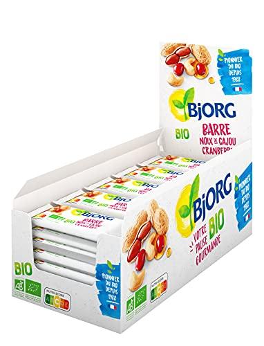 Bjorg Barre Énergétique Noix de Cajou Cranberry Bio – Source de Fibres et de Protéines – Encas Sain pour le Sport : Vélo, Fitness, Trail, Running – 25 barres individuelles de 30 g