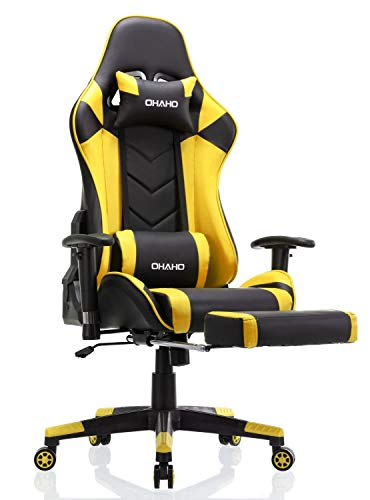OHAHO Gaming Chair Racing Style Office Chair Adjustable Massage Lumbar Cushion Swivel Rocker Recliner Leather High Back Ergonomic Computer Desk Chair with Retractable Arms and Footrest (Black/Yellow)
