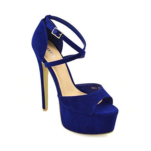 ESSEX GLAM Sandalo Donna Peep Toe con Lacci Plateau Tacco a Spillo Alto (UK 3 / EU 36 / US 5, Azzurro Finto Scamosciato)