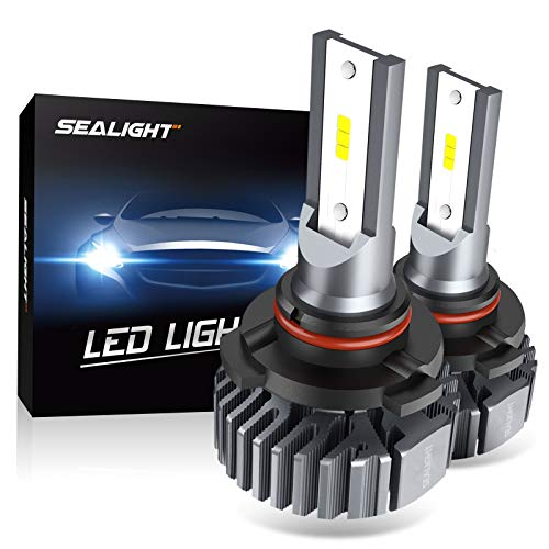 SEALIGHT 9005/HB3/ LED Headlight Bulbs, 60W 10000lm Bright High Beam Headlights Conversion Kit, 6000K Xenon White, Easy Installation, Halogen Replacement, Pack of 2