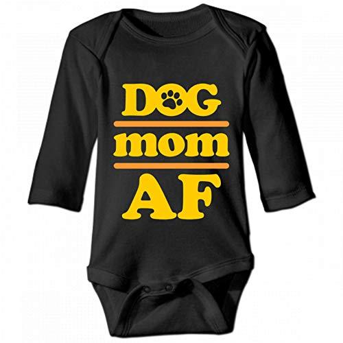 Dog Mom AF Unisex Baby Round Neck Long Sleeve Bodysuit, Fashion Casual Baby Climbing Suit 2T