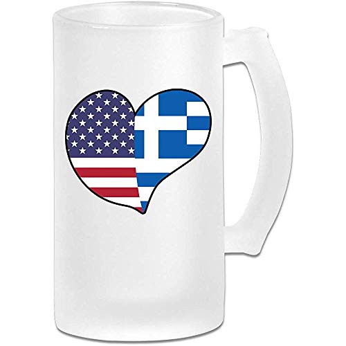 USA Griekenland Vlag Hart Frosted Glas Stein Bier Mok, Pub Mok, Drank Mok, Gift voor Bier Drinker, 500Ml (16.9Oz)
