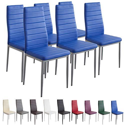 Albatros 2710 Milano Set de 6 sillas de Comedor, Azul