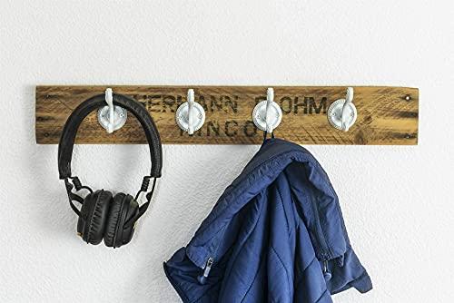 Garderobe/Handtuchhalter Obstkiste Holz Altholz Vintage Upcycling Handmade mit 4 Haken weiß, Landhausstil, individuell