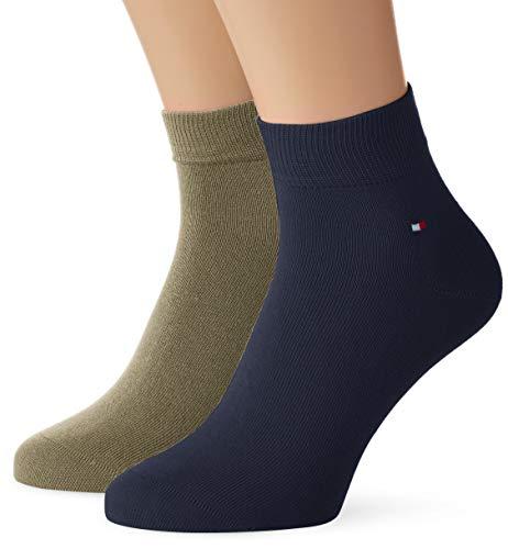 Tommy Hilfiger Herren TH MEN QUARTER 2P Socken, Grün (Olive 002), (Herstellergröße: 43/46) (2er Pack)