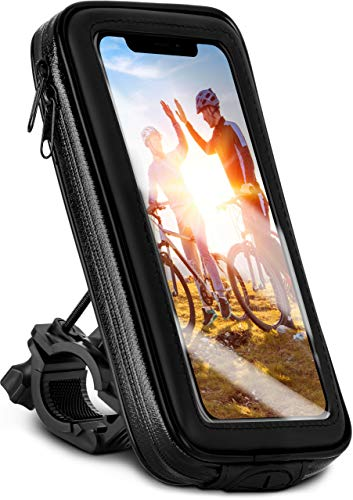 moex Fahrrad Handyhalterung kompatibel mit Samsung Galaxy A71 - Lenkertasche mit Sichtfenster, neig- und drehbar, Lenker Halterung wasserdicht, Schwarz