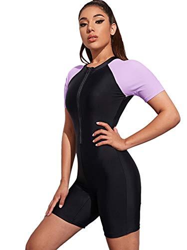 MakeMeChic Women's Colorblock Zip Up One Piece Swimsuit Sporty Bathing Set Black Purple S