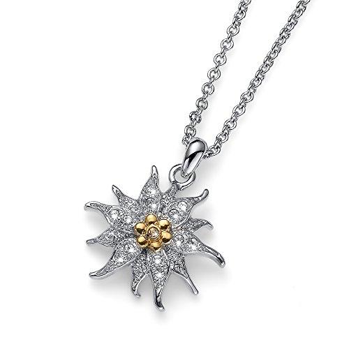 Oliver Weber Collection Collar rodiado para mujer Edelweiss • Colección de joyas de primera calidad  colgante con cristal de Swarovski • Idea de regalo ideal para mujer