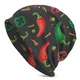 AEMAPE Gorro unisex de punto con diseño de calavera de chile vegano, unisex, suave, con puños