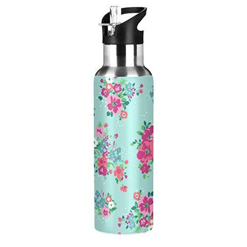 xigua Botella de agua deportiva aislada con tapa de pajita de acero inoxidable al vacío, botellas térmicas a prueba de fugas, con flores vívidas