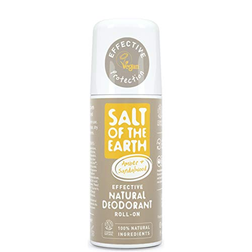 Natural Deodorant Roll On von Salt of the Earth, Amber & Sandelholz, vegan, langanhaltender Schutz, Leaping Bunny genehmigt, hergestellt in Großbritannien, 75 ml