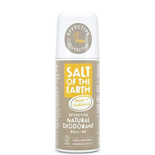 Salt of the Earth - Desodorante natural con roll-on, ámbar y sándalo, vegano, protección de larga duración, aprobado por Leaping Bunny, 75 ml