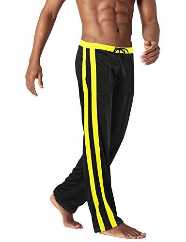 BIYLACLESEN Training Pants Mesh Pants Men Warm Up Pants Men Lightweight Pants Mens Jogger Pants Mens Gym Pants Sweatpants for Men Joggers for Men Black Yellow