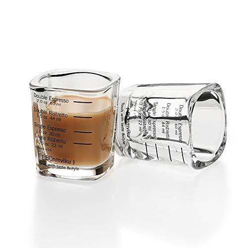 Espresso Shot Glasses Measuring cup Liquid Heavy Glass Wine Glass Shot Glass 26-Incremental Measurement 2 OZ 2 Features 60ML Sturdy-2 pack