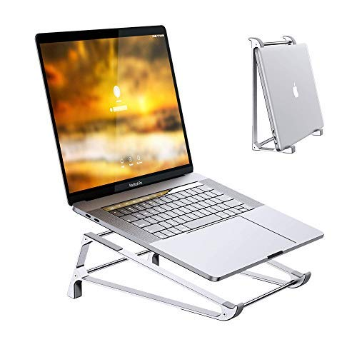 Laptop Stand for Desk, Aluminum Ergonomic Vertical Laptop Stand Holder Compatible with MacBook, Surface, dell, Lenovo, and Other 10-17 inch Desktop Ventilated Riser, 2 in 1 Design (Silver)