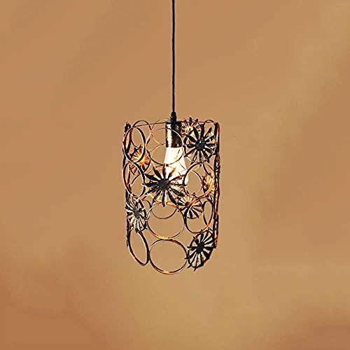 SHUANF Industrielle Metall-Pendelleuchte, Retro-Pendelleuchte im amerikanischen Stil, schmiedeeiserner hohler Lampenschirm-Hängeleuchte mit Blumenmuster, Bauernhaus-Einkopf-Kronleuchter mit E27-Basis