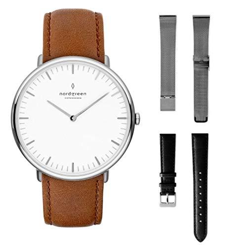 Nordgreen Native Set: Silber Unisex Analog Uhr 36mm (M) mit Lederarmband Braun Plus Zwei Armbänder: Silber Mesh und Leder Schwarz 15006