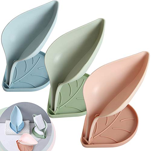 Meowtutu Seifenschale mit Ablauf, 3 Stück Leaf Seifenhalter Abnehmbar für Einfache Reinigung Seife Trocken und Sauber Halten, Pink, Blau, Grün