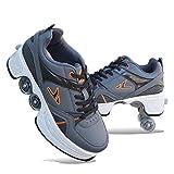 Patines En Línea, Patines Ajustables 2 En 1, Zapatos Multiusos, Zapatillas Deportivas Informales, Zapatos con Ruedas para Niños Y Adultos,D-EU39/UK6.5
