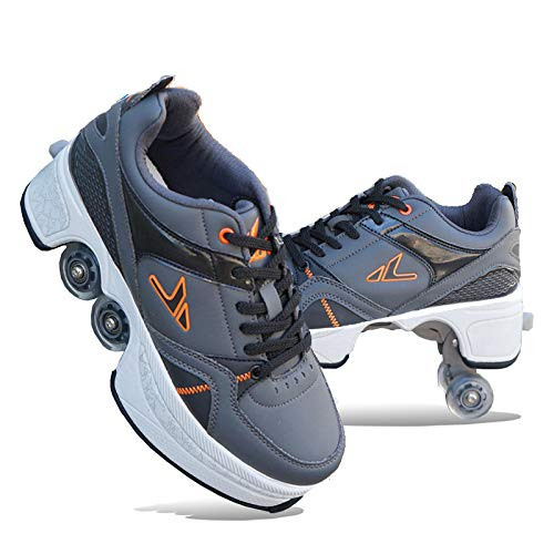 AGLOAT Patines De Ruedas, Zapatos Multiusos 2 En 1, Zapatos con Ruedas para Adultos, Zapatos con Ruedas, Zapatillas Casuales, Zapatos De Deformación, para Niños Y Adultos,D-EU34/UK4