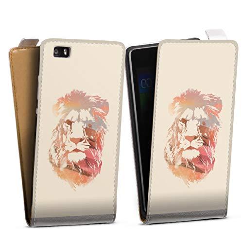 Tasche kompatibel mit Huawei P8 lite (2015-2016) Flip Hülle Hülle Weiß Löwe Tiere Art