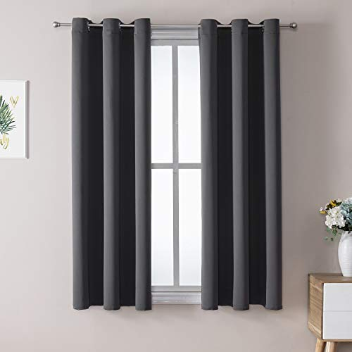 ChrisDowa Grommet Blackout Curtains for Bedroom and Living Room - 2 Panels Set Thermal Insulated Room Darkening Curtains (Dark Grey, 42 x 63 Inch)