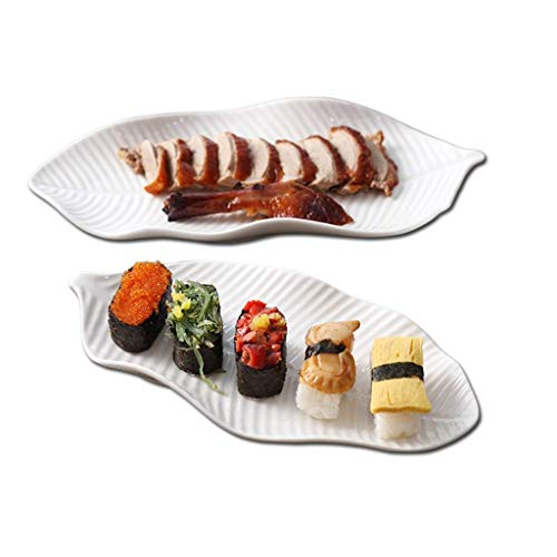 """GPWDSN Plat de présentation de Sushi Blanc 2 pièces Assiette en Porcelaine en os de Feuille de bananier Assiette à collation pour Banquet d'hôtel (Taille: 11"""")"""