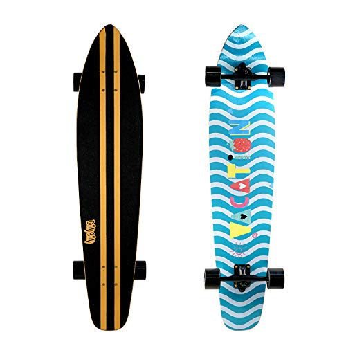 DINBIN 42 Inch Drop Through 8 Ply Maple Complete Longboards Skateboard,Cruising,Freeride Slide,Freestyle and Downhill Freestyle Cruiser for Teens or Adults (Color-9)