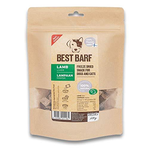 BEST BARF Gefriergetrocknete Lammleber Leckereien mit 100% Einer Zutat Getreidefreie 100g Trainingsleckerlies aus Leber für Hunde und Katzen