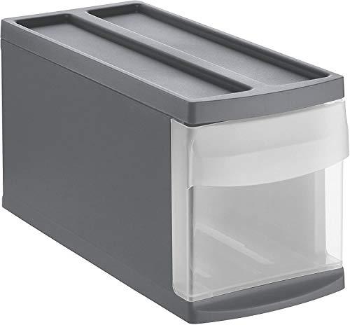 Rotho Systemix Schubladenbox 1 Schub, Kunststoff (PP) BPA-frei, anthrazit/transparent, S (39,5 x 17,0 x 20,3 cm)